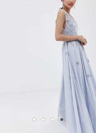 Голубое платье макси с глубоким вырезом и разрезом до бедра dolly & delicious