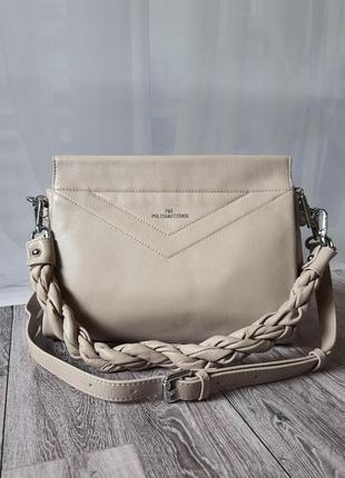 ✨ кожаная вместительная бежевая сумка polina eiterou
