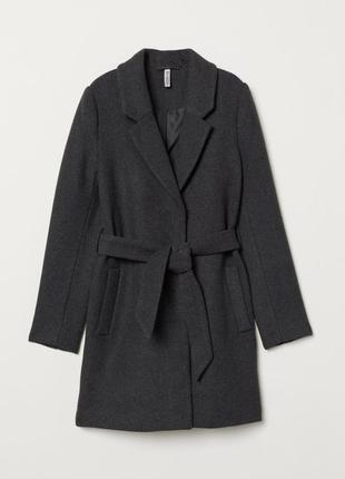 Серое классическое пальто от h&m