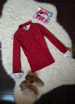 Рубашка ann cristina бордо вельветовая мягкая размер м