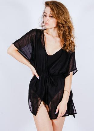 Пляжное черное платье накидка на купальник, пляжна чорна сукня накидка