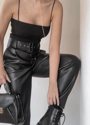 Кожаные штаны,брюки  высокая посадка zara