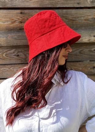 Льняная женская летняя красная панама с широкими полями для девушек handmade 100% лен