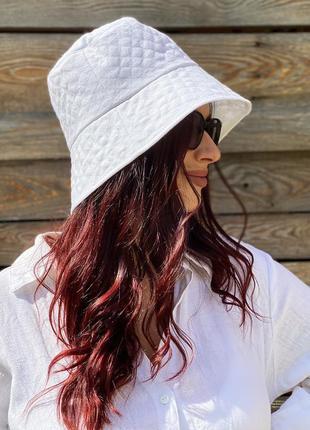 Льняная женская летняя белая панама с широкими полями для девушек handmade 100% лен