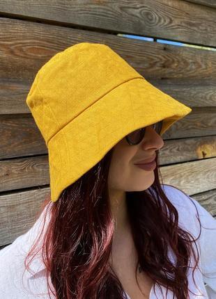 Льняная женская летняя желтая панама с широкими полями для девушек handmade 100% лен
