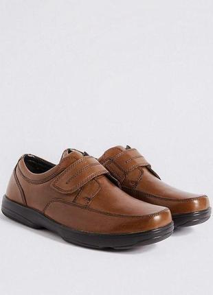 Натур. кожаные туфли на липучках мокасины air flex