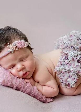 Повязка для новорожденных на фотосессию люкс набор