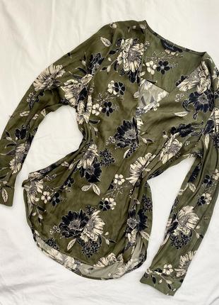 Блуза рубашка хаки принт цветы