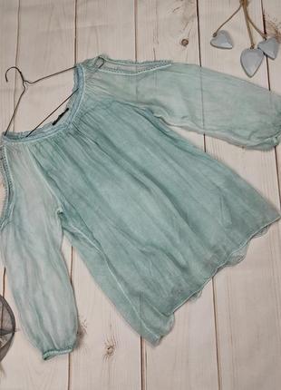 Блуза шелковая итальянская шикарная бирюзовая uk 12-14-16