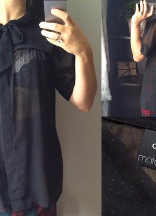 Шифоновая блуза черная asos