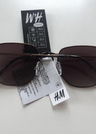 H&m новые солнцезащитные очки коричневые металлические в стиле ray ban2 фото