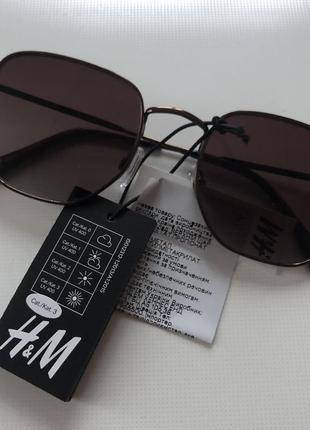 H&m новые солнцезащитные очки коричневые металлические в стиле ray ban3 фото