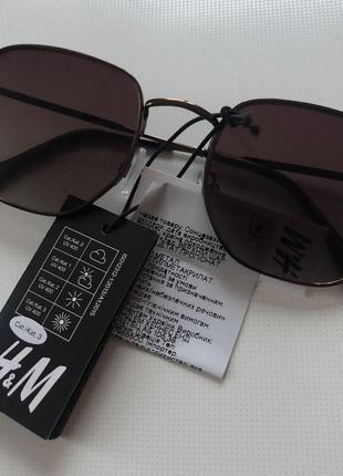 H&m новые солнцезащитные очки коричневые металлические в стиле ray ban4 фото