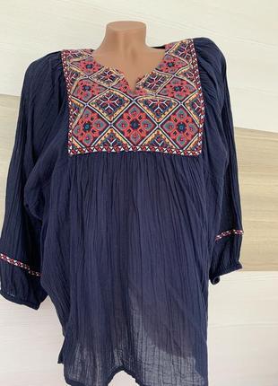 Туника блуза хлопок вышиванка лёгкая летняя на м-xl