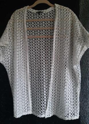 Блуза кружевная белая, легкий летний кружевной жакет, кружевная накидка  бренда amisu. торг