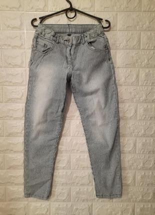 Джинсы в полоску, стильные джинсы