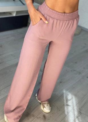 🌺 женские летние штаны пудровые новые купить