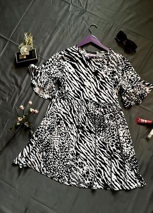 Платье мини в анималистический принт, платье зебра принт, платье свободное