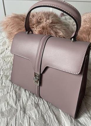 Сумка genuine leather borse in pelle пыльно розовая/фиолетовая