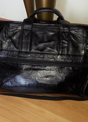 Кожаная сумка для ноутбука дорожная командировочная