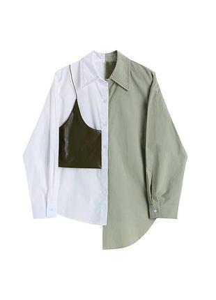 Акция✨ белая женская рубашка оверсайз блузка блуза