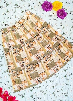 🌿1+1=3 стильная юбка плиссе с листиками, длина миди, размер 48 - 50