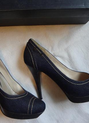Туфли на каблуке джинсовые р.39