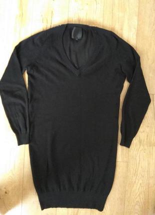 Натуральное платье-свитер с декорированой спинкой с кашемиром в составе
