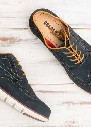 Кроссовки, замшевые туфли- броги с перфорацией. golderr