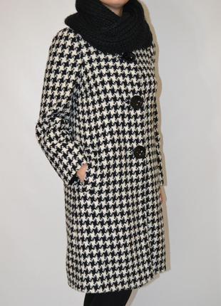 Шерстное пальто  гусиная  лапка с воротником шанель wallis.