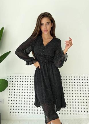Невероятно красивые шифоновые  платья в мелкий горошек, с пуговицами на талии❤️2 фото