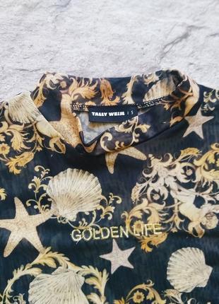 Модный прозрачный топ водолазка футболка сетка с англами и узорами2 фото