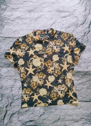Модный прозрачный топ водолазка футболка сетка с англами и узорами1 фото