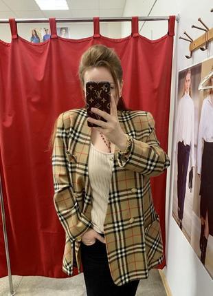 Пиджак в клетку с золотыми пуговицами винтаж