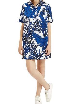 Платье-рубашка, принт пальмовые листья, topshop