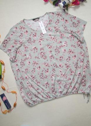 Суперовая хлопковая футболка батал в цветочный принт мильфлер george.