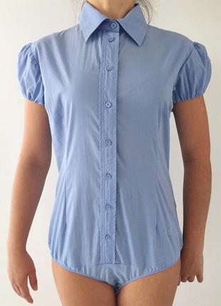 Рубашка-боді, голубое боди, голубая рубашка.