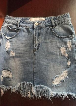 Фирменная джинсовая юбка с рваностями denim co 12/40 m-l