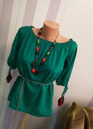Хлопковая блуза с кисточками открытые поечи