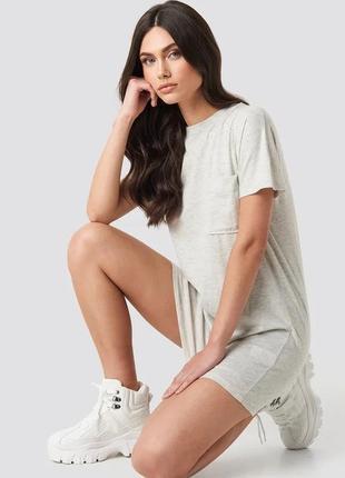 Na-kd платье футболка серое новое короткое оверсайз с карманом трикотажное