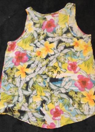 Акцентная блузка - майка под пиджак, тропический принт, xl