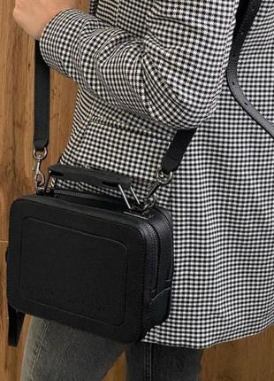 Сумка кожаная на длинном ремешке  сумка жіноча шкіряна чорна. marc jacobs