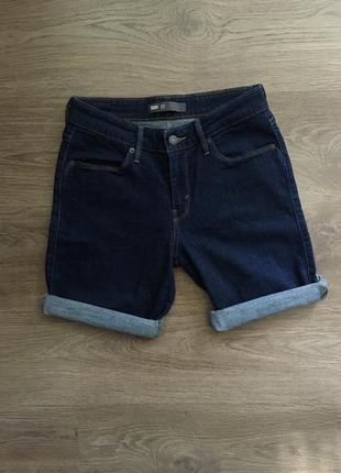 Оригинальные джинсовые тёмно синие шорты levi's 501 , 507