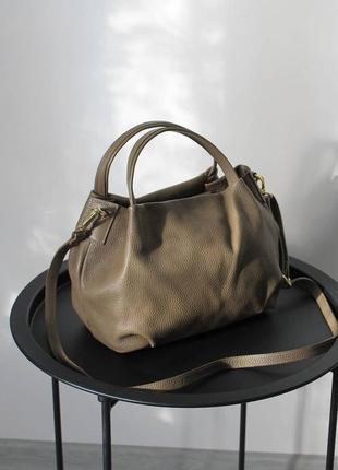 Сумка кожаная, тауп, коричневый, хаки, vera pelle, италия , сумка жіноча шкіряна коричнева, на плече, з короткою ручкою