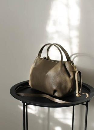 Сумка кожаная, тауп, коричневый, хаки, vera pelle, италия , сумка жіноча шкіряна коричнева, на плече, з короткою ручкою4 фото