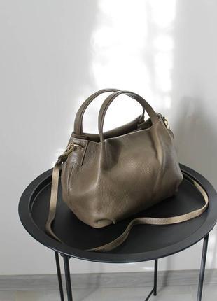 Сумка кожаная, тауп, коричневый, хаки, vera pelle, италия , сумка жіноча шкіряна коричнева, на плече, з короткою ручкою3 фото