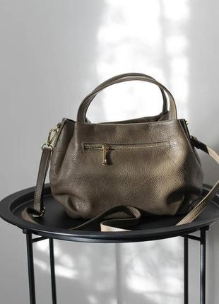 Сумка кожаная, тауп, коричневый, хаки, vera pelle, италия , сумка жіноча шкіряна коричнева, на плече, з короткою ручкою2 фото