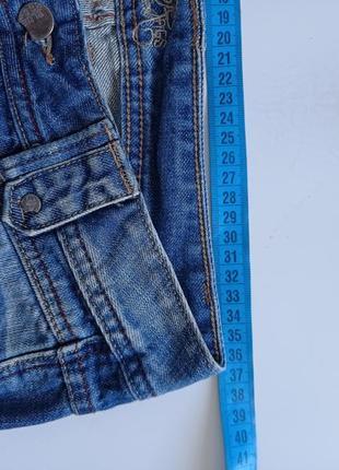 Синие рваные джинсы на низкий рост5 фото