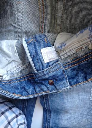 Синие рваные джинсы на низкий рост6 фото