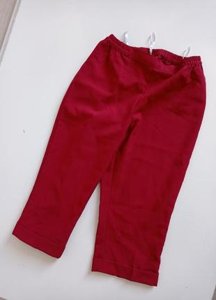 Бордовые бриджы брюки высокой посадкой